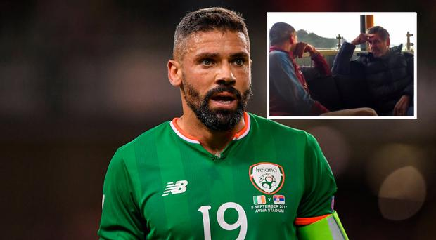 Ireland's Jon Walters and (inset) he breaks down talking to BBC Radio 5