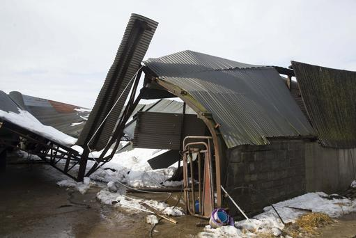 Pictured at Karol Winters farm Winterheights, Taghmon, Co. Wexford where the snow brought down farm sheds. Picture: Patrick Browne