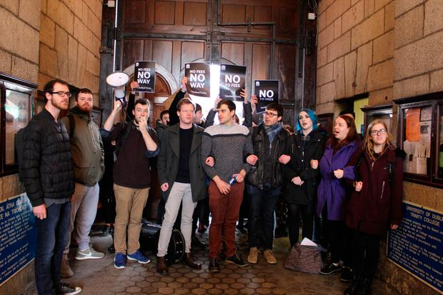 Students protest in Trinity College. Photo: Mary Hartnett