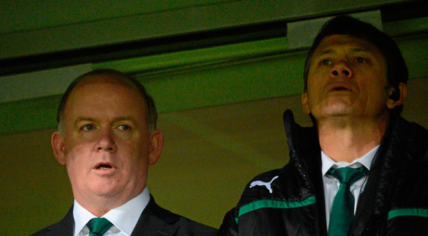 17 November 2012; Ireland head coach Declan Kidney, left, and assistant coach Les Kiss ahead of the game. Autumn International, Ireland XV v Fiji, Thomond Park, Limerick. Picture credit: Stephen McCarthy / SPORTSFILE