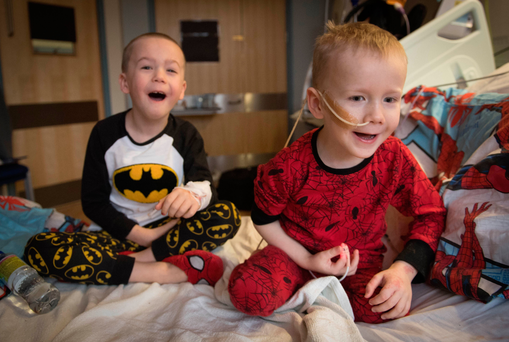 Brothers, four-year-old Ollie (right) and Finley Cripps, six, from Sittingbourne, Kent Photo: Stefan Rousseau/PA Wire