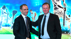 9 December 2015; Republic of Ireland manager Martin O'Neill, left, and Northern Ireland manager Michael O'Neill, who were jointly presented with the Philips Manager of the Year Award. Philips Manager of the Year 2015, The Intercontinental Hotel, Simmonscourt Rd, Dublin. Picture credit: Ray McManus / SPORTSFILE