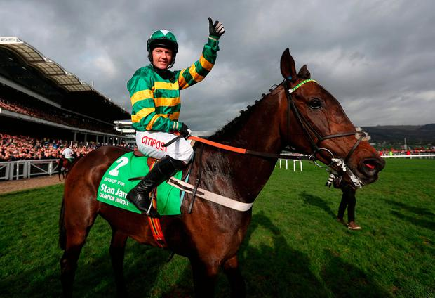 Noel Fehily celebrates with Buveur D'Air after last year's Champion Hurdle. Photo: PA