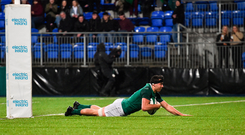 9 March 2018; Jack O'Sullivan of Ireland scores his side's fourth try during the U20 Six Nations Rugby Championship match between Ireland and Scotland at Donnybrook Stadium in Dublin. Photo by David Fitzgerald/Sportsfile