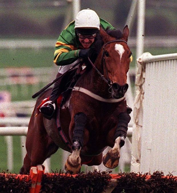 Charlie Swan and Istabraq jump the last during the Smurfit Champion Hurdle at Cheltenham in 1998. Photo: Sportsfile