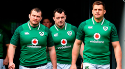 Jack McGrath, Cian Healy and CJ Stander arrive for the Ireland squad captain's run at the Aviva Stadium yesterday. Photo: Sportsfile