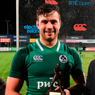 Ireland's Jack O'Sullivan is presented with the Player of the Match award for his outstanding performance in the U20s Six Nations Home Game against Scotland. Photo: Sportsfile