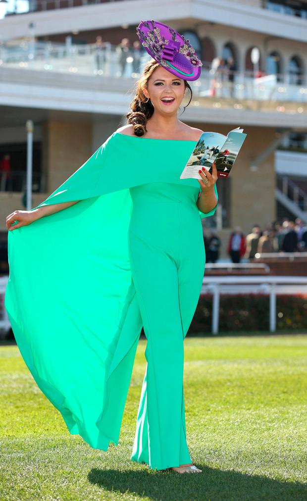 2015 winner Jennifer Wrynne wore a green Greta Constantine jumpsuit at Cheltenham last year