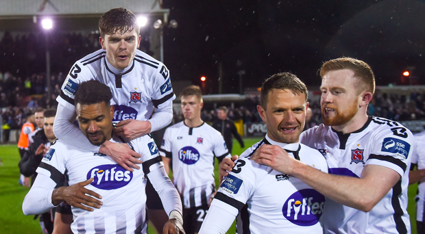 9 March 2018; Dundalk players, from left, Marco Tagbajumi, Sean Gannon, Dane Massey and Sean Hoare following the SSE Airtricity League Premier Division match between Dundalk and Cork City at Oriel Park in Dundalk, Louth. Photo by Stephen McCarthy/Sportsfile
