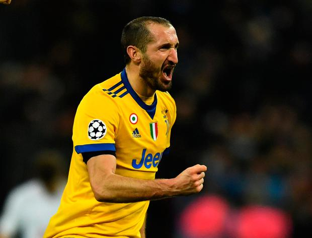 Juventus' Giorgio Chiellini celebrates after the win over Spurs. Photo: Reuters