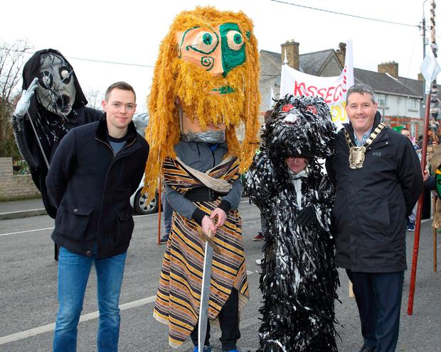 Dean Rock meets members of the St Patrick's Day parade along with Dublin South Mayor Paul Gogarty