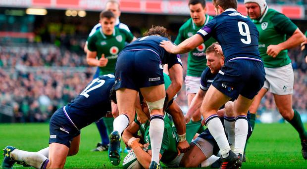 Conor Murray of Ireland scores his side's third try during the NatWest Six Nations Rugby Championship match between Ireland and Scotland at the Aviva Stadium in Dublin. Photo by Ramsey Cardy/Sportsfile