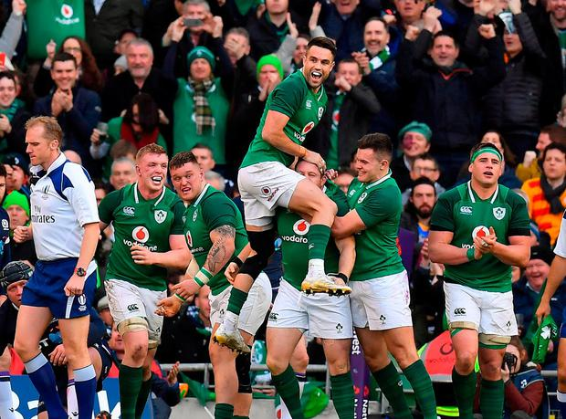 b8357d27dbc Ireland players and supporters celebrate after Sean Cronin scored their  side's fourth try during the NatWest