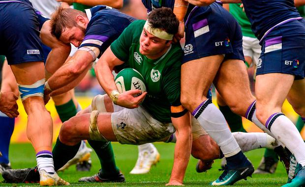 James Ryan of Ireland during the NatWest Six Nations Rugby Championship match between Ireland and Scotland at the Aviva Stadium in Dublin. Photo by Ramsey Cardy/Sportsfile