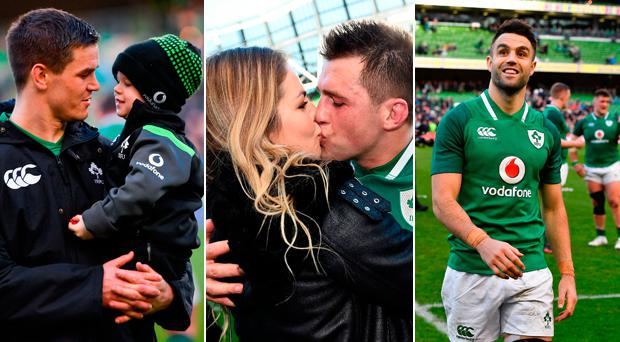 Johnny Sexton (with son Luca), CJ Stander (with wife Jean Marie) and Conor Murray celebrate after the game