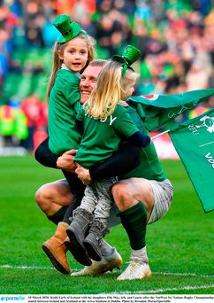 10 March 2018; Keith Earls of Ireland with his daughters Ella May, left, and Laurie after the NatWest Six Nations Rugby Championship match between Ireland and Scotland at the Aviva Stadium in Dublin. Photo by Brendan Moran/Sportsfile