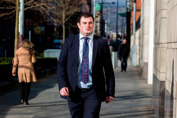 Rory Harrison arrives at Belfast Crown Court. Photo :PA