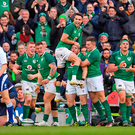 Conor Murray jumps for joy as Ireland secure victory over Scotland. Photo: Sportsfile