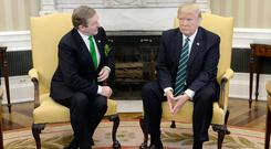 US President Donald Trump had a frosty reception for Enda Kenny in the Oval Office of the White House last year and it doesn't look any better for Leo Varadkar as trade wars kick off. Photo: Getty