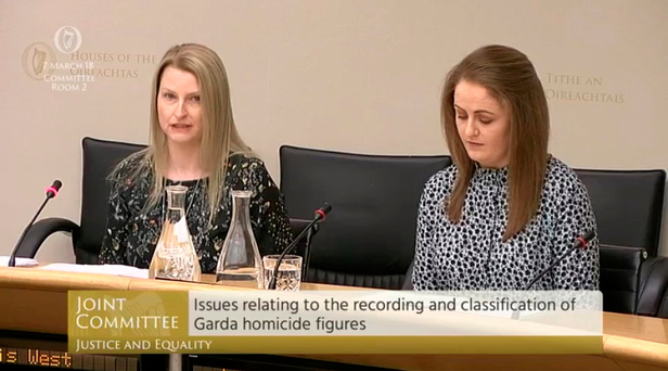 Civilian officers Lois West and Laura Galligan give evidence to the Oireachtas Committee