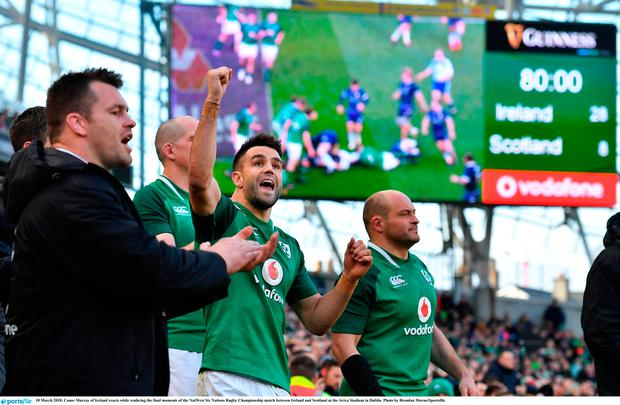 Conor Murray of Ireland reacts