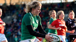 Claire Molloy of Ireland scores her side's fifth try during the Women's Six Nations Rugby Championship match between Ireland and Wales in February. Photo: Sportsfile