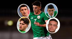 Declan Rice (main pic), Enda Stevens (top left), Kieran O'Hara (bottom left), Darragh Lenihan (top right) and Derrick Williams (bottom right). Photo: Sportsfile