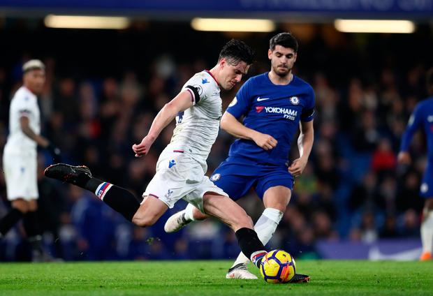Martin Kelly of Crystal Palace and Alvaro Morata of Chelsea. Photo: Getty Images