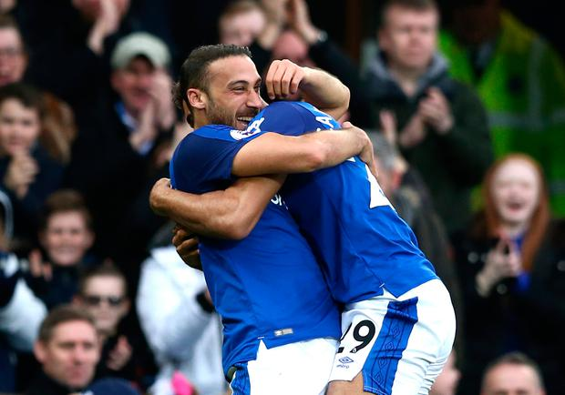 Cenk Tosun of Everton celebrates with teammates after scoring his sides second goal. Photo: Getty Images
