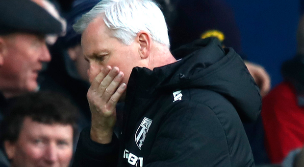 Alan Pardew, Manager of West Bromwich Albion reacts during the Premier League match. Photo: Getty Images
