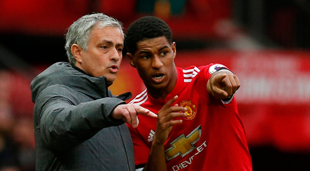 Manchester United manager Jose Mourinho gives instructions to Marcus Rashford during the match against Liverpool. Photo: Andrew Yates/Reuters