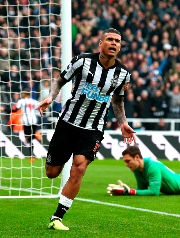 Kenedy of Newcastle United celebrates scoring his side's second goal. Photo: Getty Images