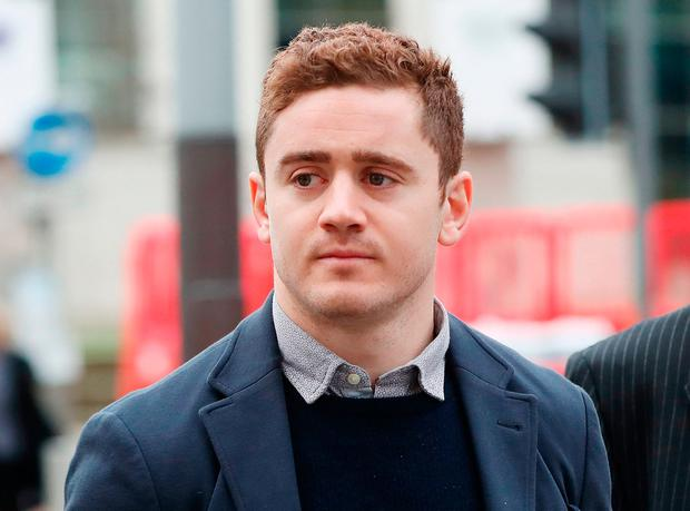 Ireland and Ulster rugby player Paddy Jackson arrives at Belfast Crown Court. Photo: PA