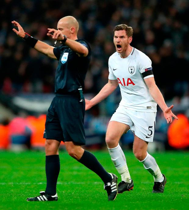 Tottenham Hotspur's Jan Vertonghen appeals to referee Szymon Marciniak during the Champions League match. Photo: Nick Potts/PA