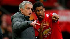 Manchester United manager Jose Mourinho and Marcus Rashford. REUTERS/Andrew Yates
