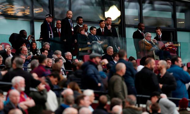 West Ham United vice chairman Karren Brady and commentator John Motson in the stands. Action Images via Reuters/Peter Cziborra
