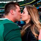 CJ Stander of Ireland celebrates with his wife Jean Marié following the NatWest Six Nations Rugby Championship match between Ireland and Scotland at the Aviva Stadium in Dublin. Photo by Stephen McCarthy/Sportsfile