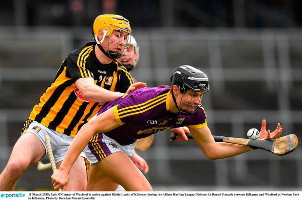 Jack O'Connor of Wexford in action against Richie Leahy of Kilkenny