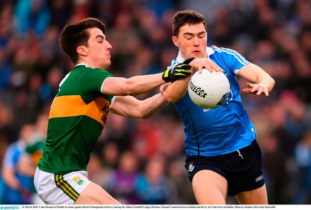 Colm Basquel of Dublin in action against Brian Ó Beaglaoich of Kerry