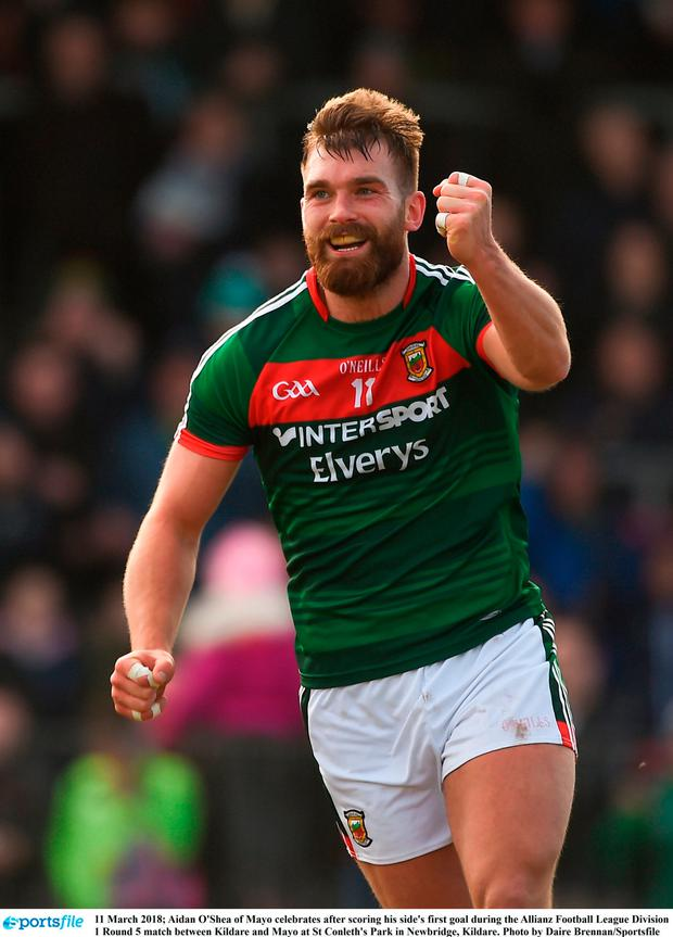 Aidan O'Shea of Mayo celebrates after scoring his side's first goal