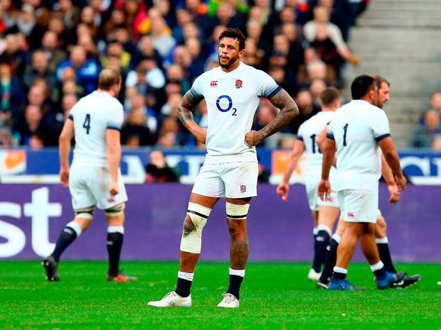 England's Courtney Lawes shows his dejection after French defeat