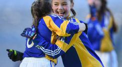 Emma McDonagh and Karrie Rudden of St Patrick's GNS celebrate after winning at the Allianz Cumann na mBunscol finals in Croke Park last October. Photo: David Fitzgerald