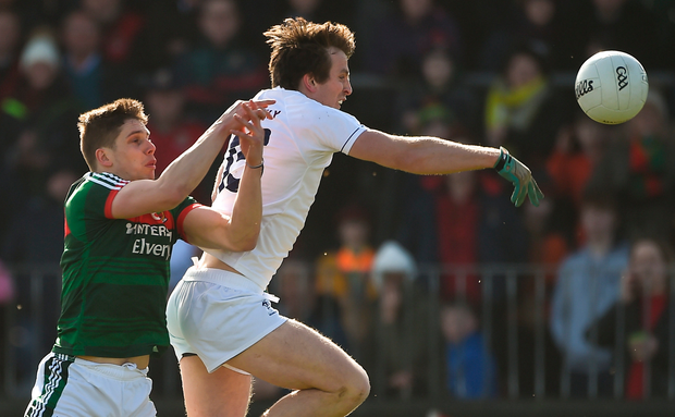Paddy Brophy of Kildare in action against Lee Keegan of Mayo. Photo: Sportsfile