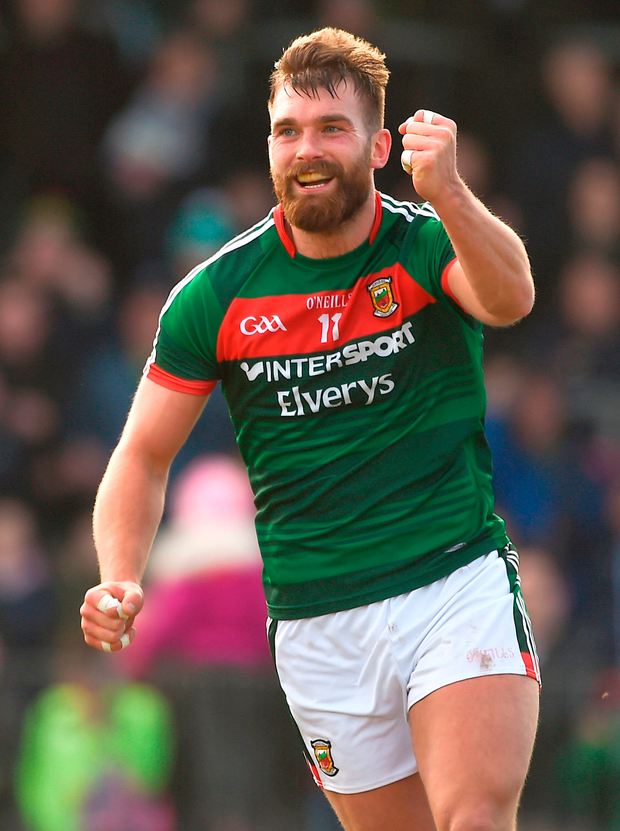 Aidan O'Shea of Mayo celebrates after scoring his side's first goal. Photo: Sportsfile