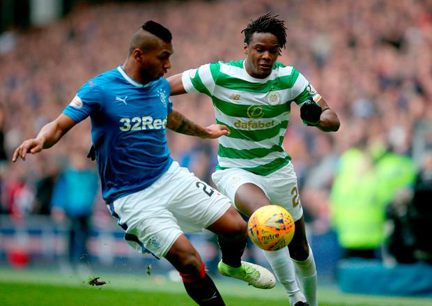 Rangers' Alfredo Morelos (left) and Celtic's Dedryck Boyata in action. Photo credit: Jane Barlow/PA Wire