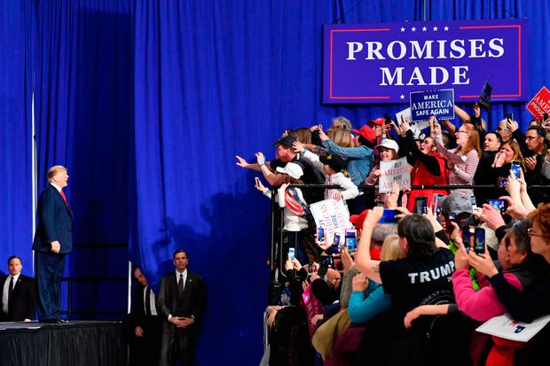 US President Donald Trump in Moon Township, Pennsylvania, on Saturday at a rally on behalf of Republican candidate Rick Saccone. Photo: Getty Images