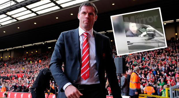 Jamie Carragher appeared to spit at Manchester United fans earlier this year