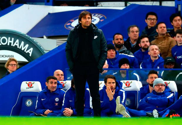 Antonio Conte looks on at Stamford Bridge. Photo: Getty Images