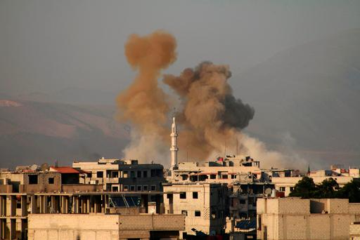 The bombardment of Eastern Ghouta continued yesterday. Photo: AFP/Getty Images