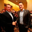 Leo Varadkar meets Arnold Schwarzenegger in Austin, Texas, during his visit to the United States